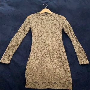 Taupe Lace Long Sleeve Dress